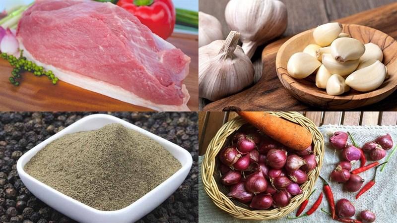 Nguyên liệu làm món thịt mông lợn kho tiêu