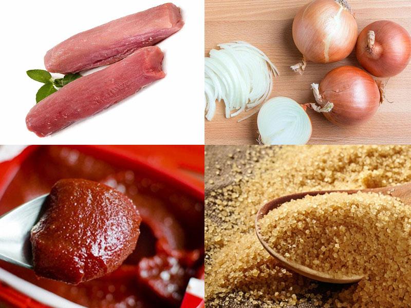 Nguyên liệu cho món thịt thăn lợn sốt rán